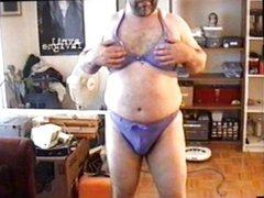 Crossdressing in a blue bikini