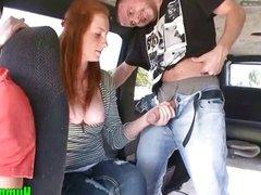 Amateur Redhead Slut Plays with Dick in Van