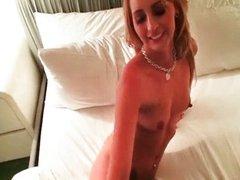 Hot blonde babe goes crazy having oral