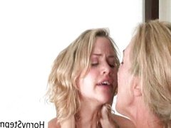 MILF Brandi Love sharing a cock with blonde b