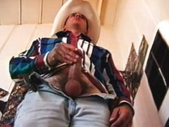 Cowboy Marine with huge cock jerks thru pants