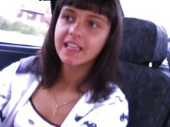 brunette sucks in the car on the road