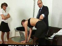 Spanking punishment for laze secretary girl