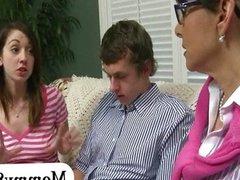 Terror stepmom and teen couple threesome