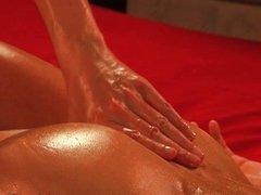 Sexy naked brunette massage horny guy