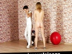Submissive training for blonde teen hottie