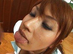 Mecumi hot Japanese doll sucks cock