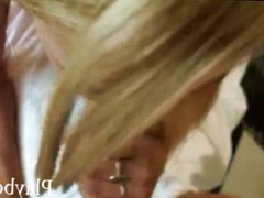 Cute blonde girl picked up and slammed