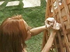 Hot redhead gives handjob