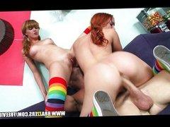 Cute pair of teenage redheads share hard cock
