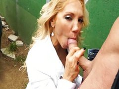 MILF shows how to work cock