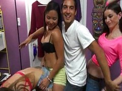 College teens in a dorm room orgy bang
