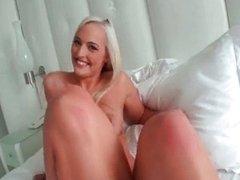 Hot blonde babe goes crazy masturbating