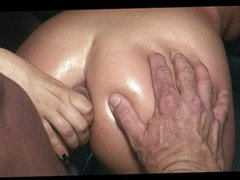 Two wet pussies fuck hard cock