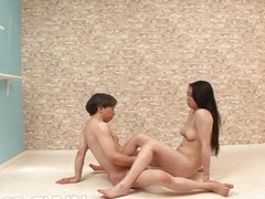 Horny Yuuka Tsubasa and a friend practice a v