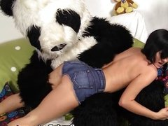 Awesome babe has sex with cute Panda