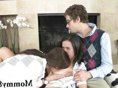 Big boobs stepmom and teen threesome
