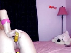 Blonde playing her dildo