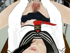 Hentai chick gets her hairy pussy screwed