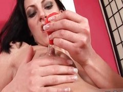 Horny brunette whore goes crazy playing