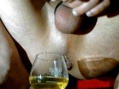 piss in a cognac glass
