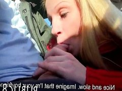 Amateur blonde with big tits blowjob in a car