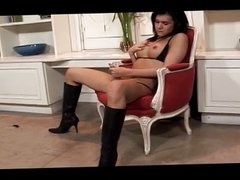 Latina shemale with big tits jerks off