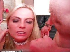 Nasty blonde slut gets her face jizzed