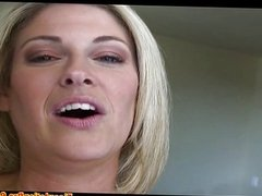 Blonde fucked in her shaved pussy