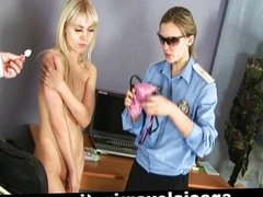 Slim blonde babe gets her pussy examined