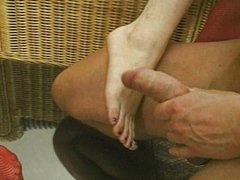 Black haired foot fetish chicks pleasing him