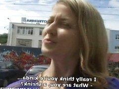 Veronika sucking cock on the street