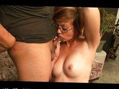 Horny MILF takes a creampie