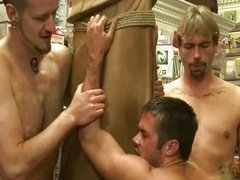 Group of dudes by turns fucking a colleague