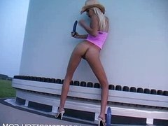 Blonde wife with dildo