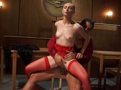 Red stockings brunette fucking in courtroom