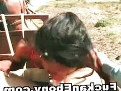Black Chick Fucked Outdoor By White Guy