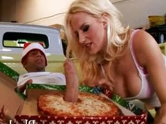 Busty blonde babe fucked the pizza cock