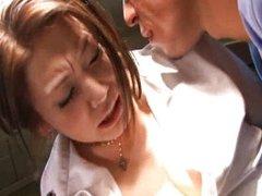 Emi Harukaze gives a scared blowjob