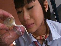 Japanese schoolgirl Chika sucking cock