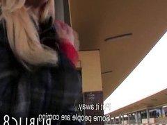 Amateur MILF blonde sex for money in public