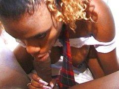 Cute ebony babe receives her treatment