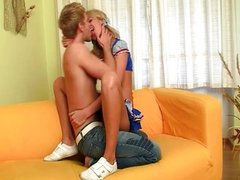 Blonde teen prepares her ass for anal sex