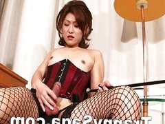 Sexy Japanese Shemale Stroking Hot Dick