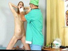 Nasty gynecologist examines shy redhead girl