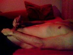 Enjoying a porn in redlight. Intensive orgasm
