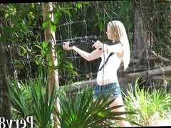 Gun shooting amateur girl fucked outdoor