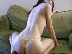 Tattooed redhead striptease solo dildo