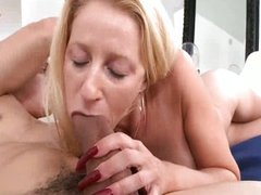 Blonde MILF's pierced pussy takes a pounding