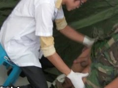 First time guy patient in uniform gets sucked